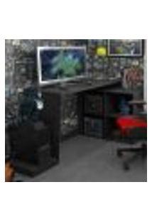 Mesa Escrivaninha Gamer 3 Prateleiras Brv - Preto