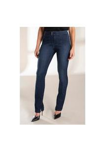 Calça Jeans Lado Avesso Alfaiataria Straight Azul Tam. 44