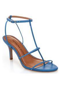 Sandalia Salto Medio Tiras Finas Azul