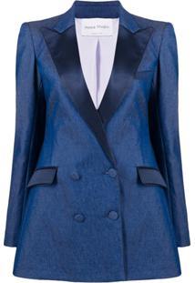 Hebe Studio Blazer Slim Com Abotoamento Duplo - Azul