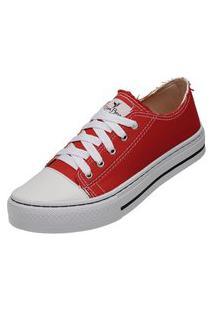 Tênis Sapatenis Casual Feminino Mr Try Shoes Vermelho Cano Baixo