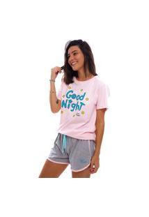 Pijama Short Doll Moon Magic Manga Curta Rosa/Cinza