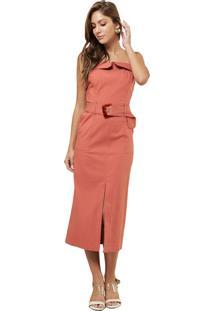 Vestido Mx Fashion Midi Com Cinto Felicia Salmão