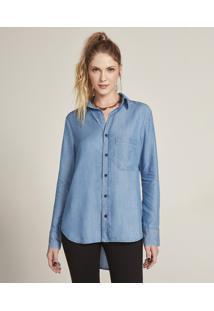 Camisa Feminina Jeans Com Bolso Manga Longa Azul Médio