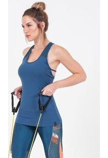 Regata Alto Giro Skin Fit Recortes Cinza Blue Azul