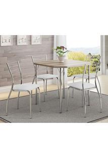 Mesa 1510 Nogueira Cromada Com 4 Cadeiras 1700 Branca Carraro