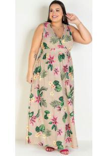 Vestido Longo Floral Bege Transpassado Plus Size