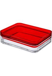 Organizador Mod 15,9 X 12,3 X 4,4 Cm Cristal Com Vermelho Coza