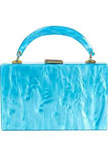 Bolsa De Acrílico Isla Galerias Com Alça Marmorizada Cor Azul Cielo - Kanui
