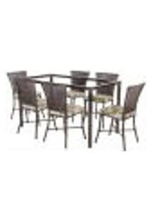 Jogo De Jantar 6 Cadeiras Turquia Pedra Ferro A04 E 1 Mesa Retangular Sem Tampo Ideal Para Área Externa Coberta