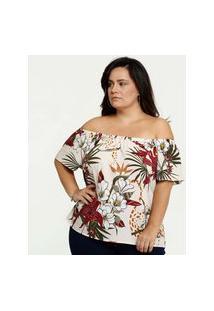 Blusa Feminina Ombro A Ombro Tropical Plus Size Marisa