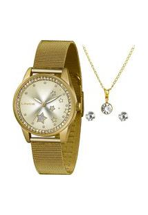 Kit Relógio Feminino Lince Lrgj120L Ky81C1Kx Analógico + Conjunto De Semijoias | Lince | Dourado | U
