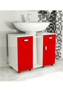 Gabinete De Banheiro Due Vermelho Tomdo.
