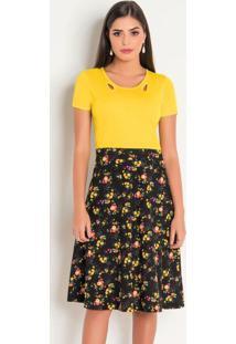 Vestido Amarelo E Floral Moda Evangélica