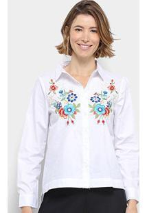 Camisa Manga Longa Anany Floral Bordada Feminina - Feminino-Branco