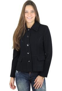Casaco Fiero Curto Em Lã Premium Preto