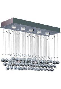 Plafon Retangular Crystal Ball Com 5 Luzes 66X36Cm Espelhado