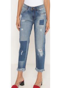Jeans Slim Comfort Low Estonado- Azul & Azul Escuro-Lança Perfume