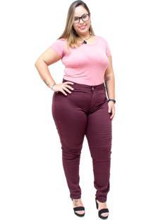 Calça Jeans Credencial Skinny Aneli Vinho - Tricae