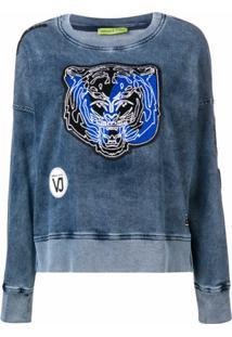 Versace Jeans Couture Blusa De Moletom Com Aplicação De Patch - Azul