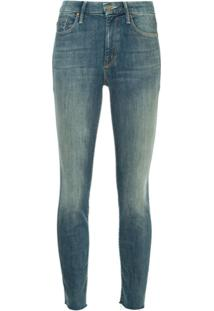 Mother Looker Ankle Fray Jeans - Azul