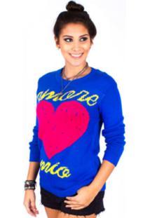Casaco Gringa Trico Amore Azul