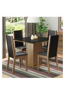 Conjunto Sala De Jantar Madesa Moscou Plus Mesa Tampo De Vidro Com 4 Cadeiras - Rustic/Preto Marrom