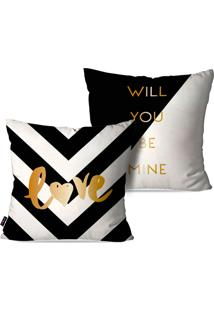 Kit Com 2 Capas Para Almofadas Pump Up Decorativas Love Will You Be Mine 45X45Cm - Preto - Dafiti