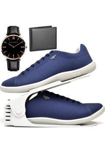Kit Sapatênis Sapato Casual Com Organizador, Carteira E Relógio King Dubuy 900Db Azul - Kanui