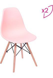 Jogo De Cadeiras Eames Dkr- Salmã£O & Bege- 2Pã§S-Or Design