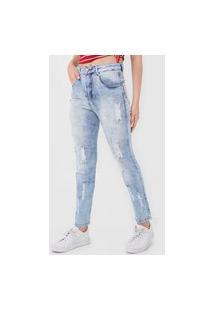 Calça Jeans Biotipo Mom Destroyed Azul