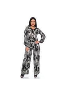 Macacão Pantalona B'Bonnie Del Geo Preto