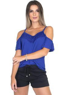 Blusa Camisa Renda Alça Bravaa Modas 240 Azul