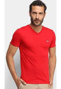 Camiseta Lacoste Gola V Regular Fit Masculina - Masculino-Vermelho