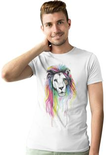 Camiseta Artseries Leão Colors Branco