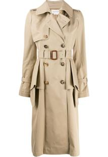 Alexander Mcqueen Ruffled Trench Coat - Marrom