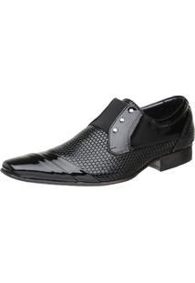 Sapato Malbork Masculino Em Couro Verniz Com Elástico Preto 378 Preto