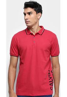 Camisa Polo Calvin Klein Mc Est Lateral Masculina - Masculino-Vermelho