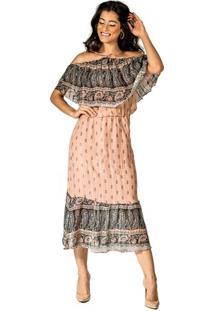 Vestido Camadas Estampa Mir Lurex Ateen