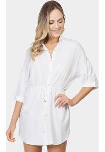 Camisa Saída De Praia Tecido Branco Off White - Lez A Lez