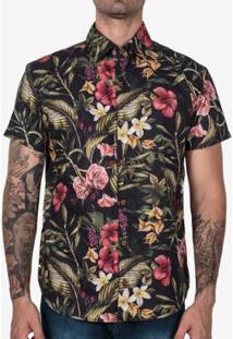 Camisa Hermoso Compadre Tropical Manga Curta Masculina - Masculino-Preto