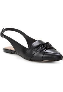 Sapatilha Couro Shoestock Slingback Nó Feminina - Feminino