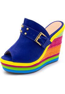 Sandália Tamanco Anabela Salto Alto Com Camurça Azul E Salto Em Sisal Colorido - Tricae