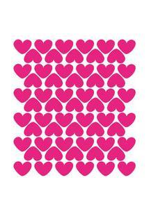 Adesivo De Parede Infantil Corações Rosa Pink 55Un