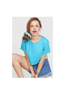 Camiseta Cropped Forever 21 Lisa Azul