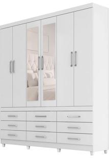 Guarda-Roupa Casal Com Espelho Canadá 6 Pt 9 Gv Branco