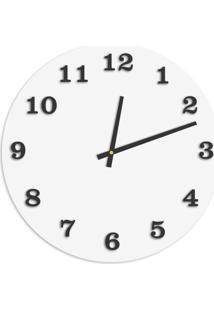 Relógio De Parede Premium Branco Com Números Em Relevo Preto Ônix 50Cm Grande