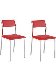 Kit 2 Cadeiras 1709 Vermelho/Cromado - Carraro Móveis