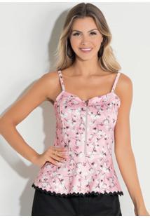 Blusa Quintess Peplum Com Zíper Floral Rosa