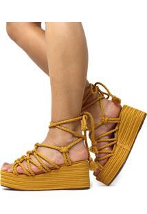 Sandã¡Lia De Corda Tranã§Ada Damannu Shoes Brooke Mostarda - Amarelo - Feminino - Dafiti